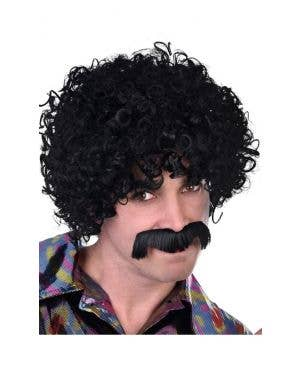 1970's Men's Black Afro Costume Wig and Moustache