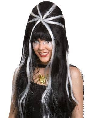 Long Beehive Black And White Costume Wig