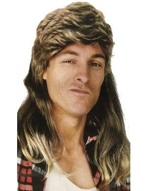 1980's Men's Brown Bogan Mullet Costume Wig