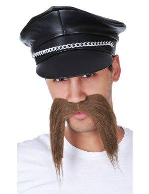 Men's Brown Bad Biker Novelty Costume Moustache Main Image
