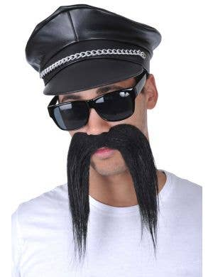 Men's Novelty Bad Biker Black Costume Moustache Main Image