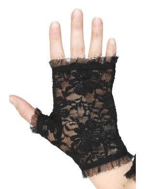Fingerless Black Lace Costume Accessory Gloves