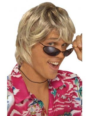 Men's Blonde Surfer Wig Costume Accessory Main Image