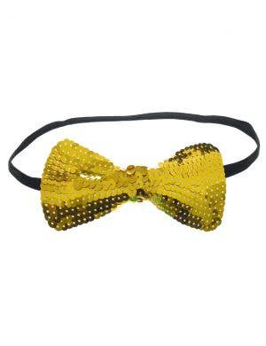 Sequinned Gold Bow Tie Costume Accessory