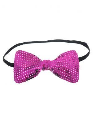 Sequined Pink Bow Tie Costume Accessory