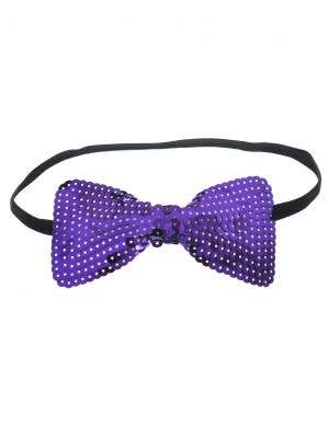 Sequined Purple Bow Tie Costume Accessory
