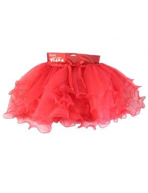 Fluffy Bright Red Ruffled Mesh Women's Tutu Skirt