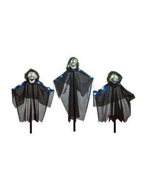 Creepy Black Cloaked Skeleton Path Marker Decorations