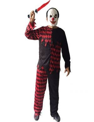 Evil Red and Black Clown Men's Halloween Costume