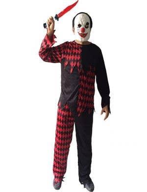 Evil Red and Black Clown Men's Halloween Costume