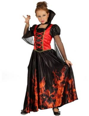 Flaming Vampiress Girls Halloween Costume