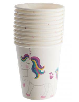 Pretty White Disposable Party Cups With Unicorns Party Supplies
