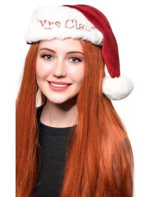 Mrs Claus Maroon Velvet Christmas Costume Hat