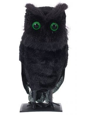 Eerie Black Hooting Owl Halloween Decoration
