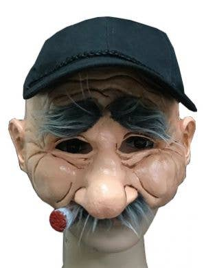 Old Man Novelty Smoking Half Mask with Hat