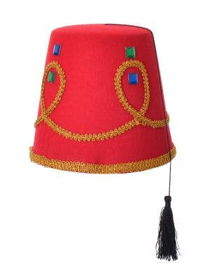 Arabian Red Fez Jewelled Costume Hat With Tassel