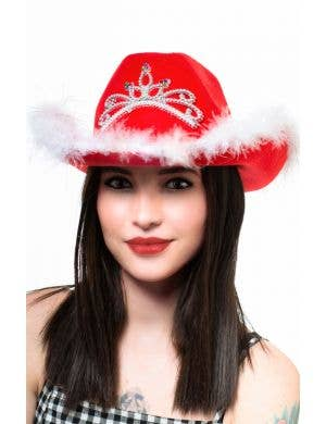 Christmas Cowboy Hat With Light Up Tiara Costume Accessory