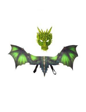 Dragon Kid's Green Halloween Mask And Wings Costume Accessory Set