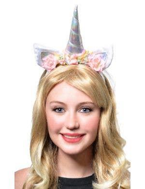 Holographic Floral Unicorn Headband with Pastel Net Veil