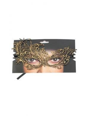 Lace Asymmetrical Over Eye Gold Masquerade Mask