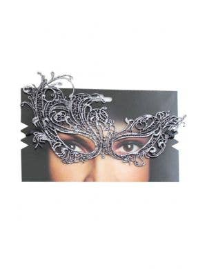 Asymmetrical Women's Lace Over Eye Silver Masquerade Mask