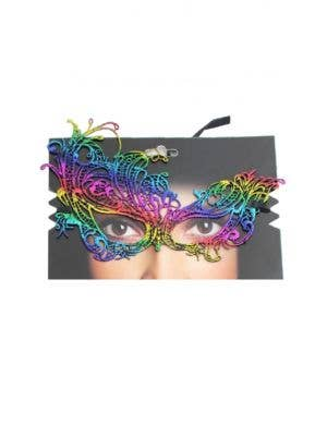 Rainbow Lace Asymmetrical Over Eye Masquerade Mask