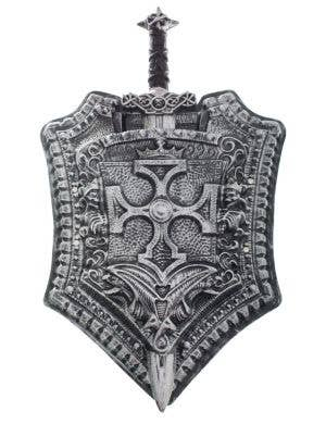 Medieval Silver Sword and Shield Accessory Set