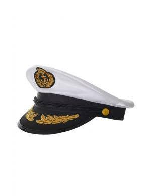 Ship Captain Unisex White Satin Costume Hat