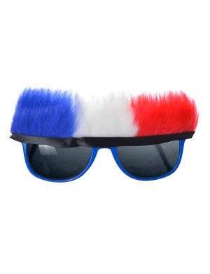 Fluffy Red, White and Blue Australia Day Novelty Sunglasses