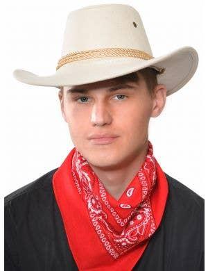Wild West Beige Faux Suede Cowboy Costume Hat