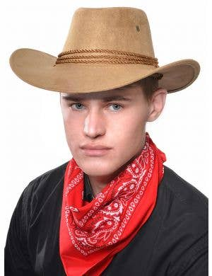 Wild West Tan Faux Suede Cowboy Costume Hat