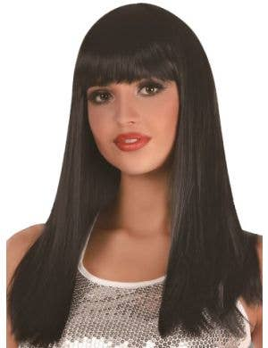Long Black Women's Wig With Front Fringe