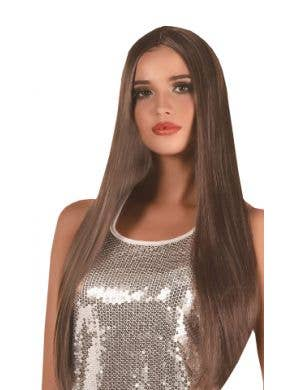 Extra Long Women's Straight Brown Costume Wig