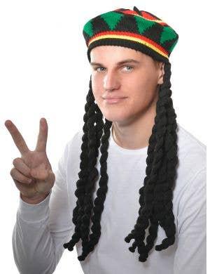 Knitted Rasta Hat With Black Dreadlocks Costume Accessory