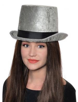Crushed Grey Velvet Adult's Top Hat Costume Accessory