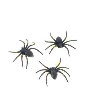 Striped Black Spiders Halloween Decoration 3 Pack