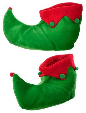 Christmas Elf Green and Red Plush Costume Shoes