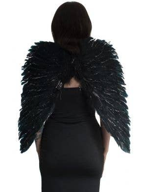 Dark Angel Black Feather Wings with Silver Glitter