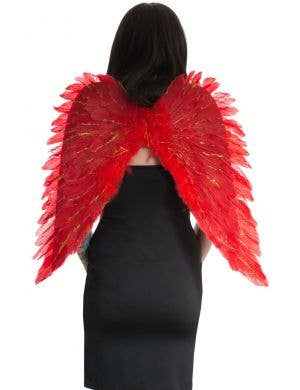 Angel Red Feather Wings with Gold Glitter