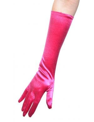 Hot Pink Satin Elbow Length Women's Costume Gloves
