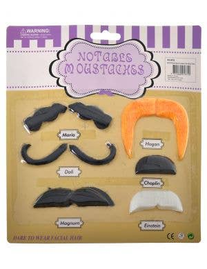 Set of 6 Novelty Stick on Moustaches Costume Accessory