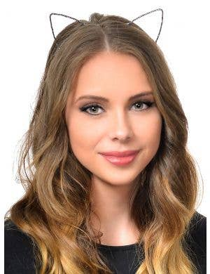 Wire Cat Ears Wrapped in Black and Silver Ribbon Headband