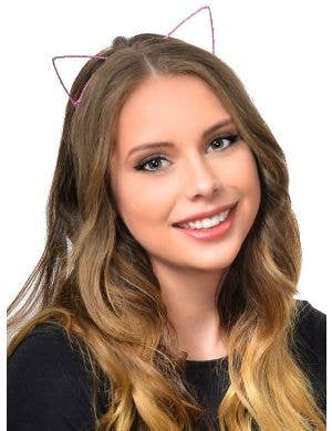 Wire Cat Ears Wrapped in Pink Ribbon Costume Headband
