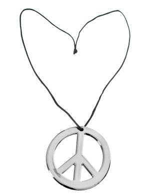 Hippie Peace Sign Silver Costume Necklace