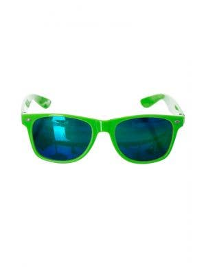 Neon Yellow Novelty Reflective Lens 80's Fluro Costume Sunglasses Accessory Main Image