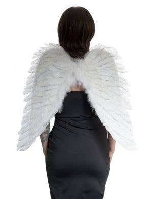 Angel White Feather Wings with Silver Glitter