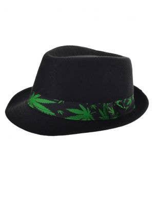 Trippy Black Fedora Hat with Marijuana Leaf Band
