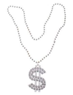 Bling Silver Beaded Dollar Sign Costume Necklace