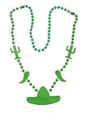 Metallic Green Beaded Mexican Sombrero Necklace