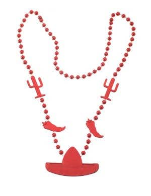Beaded Red Mexican Chilli And Sombrero Necklace